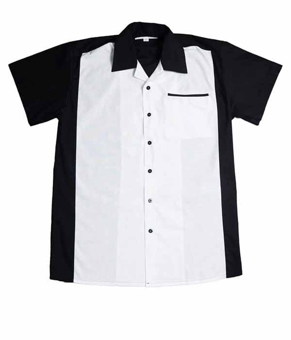 50er Jahre Panel rockabilly Lounge Shirt BOWLING Hemd schwarz weiß