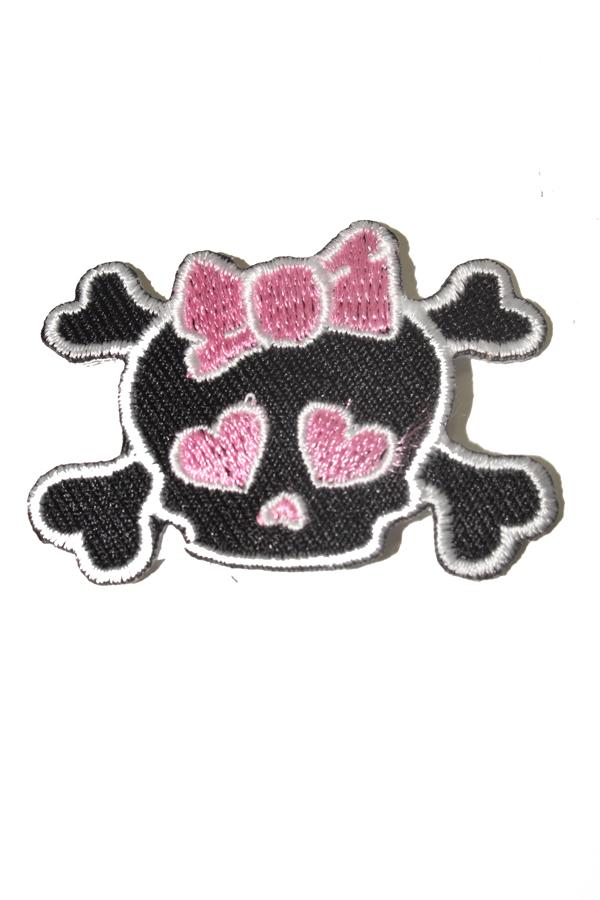 Mini girlie Bow Skull Totenkopf Knochen Rockabilly Patch Aufnäher a