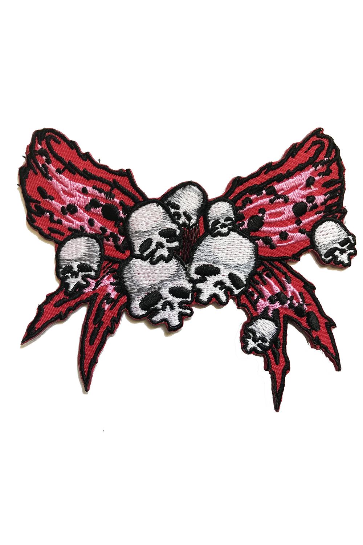 punk Totenkopf Skull Bow gothic Schleifchen Patch Aufnäher
