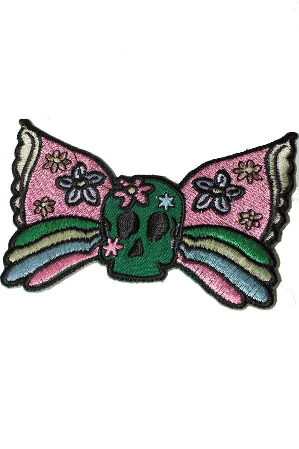 Butterfly Skull Flower Totenkopf Rockabilly Blumen Patch Aufnäher