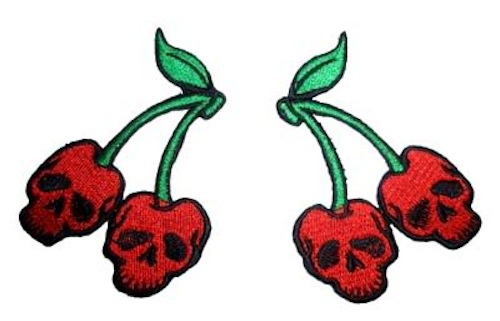 Cherry Skull Totenkopf Kirschen rockabilly punk Patch Paar