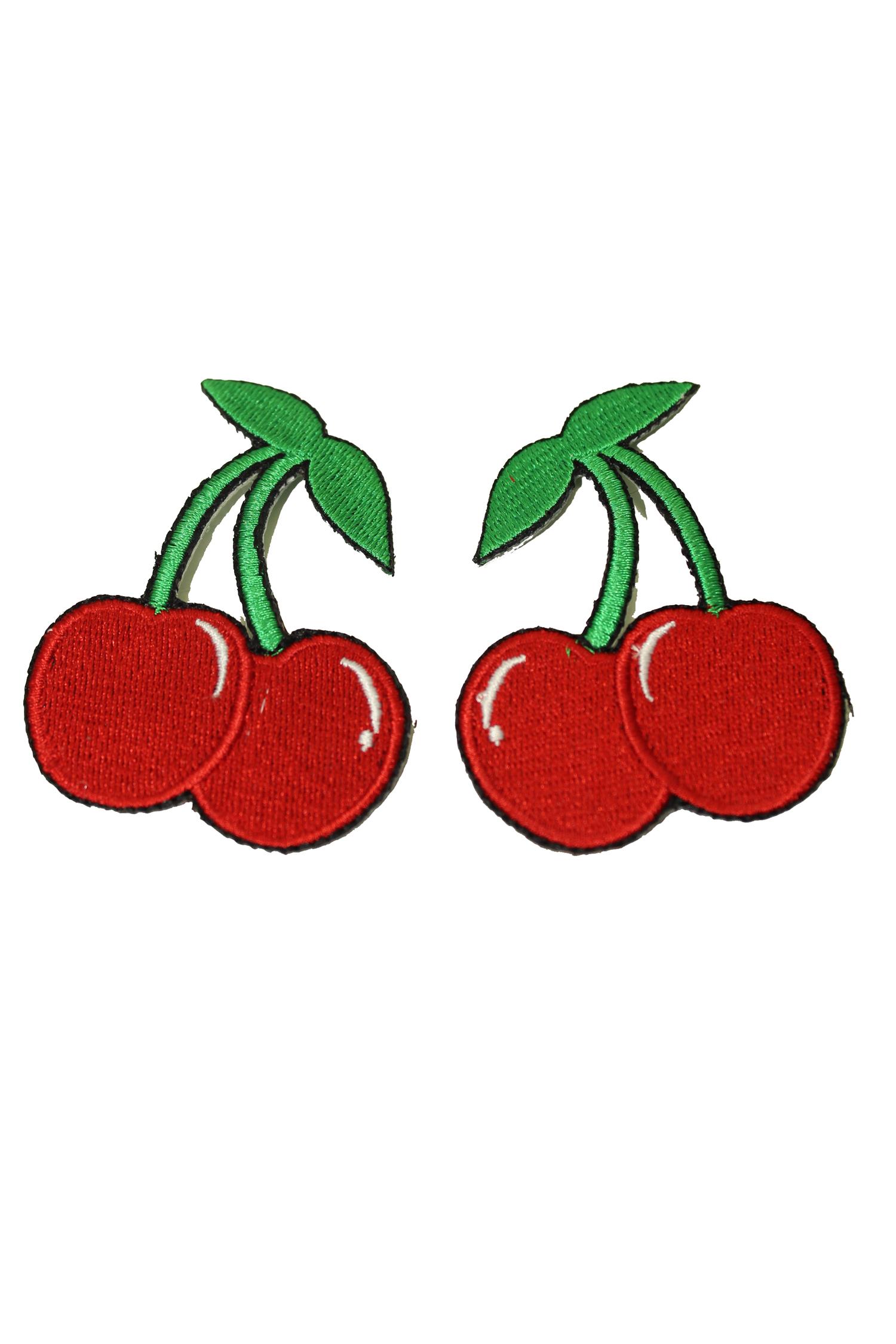 1 Paar 50s style retro Cherry rockabilly Kirschen Patch Aufnäher rot