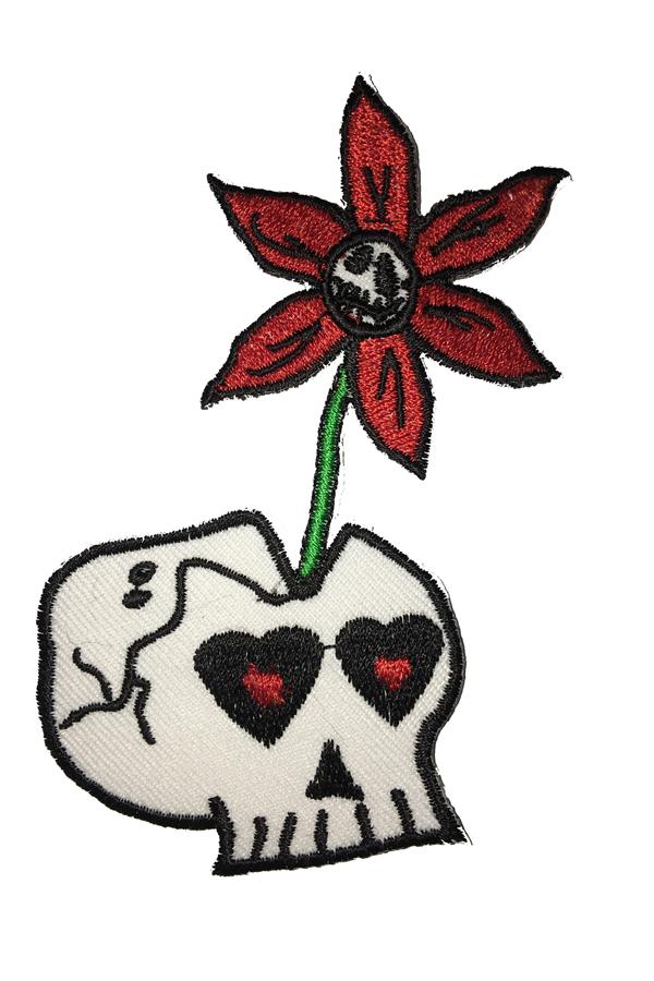 Flower Skull punk rock Totenkopf Blumen Rockabilly Patch Aufnäher