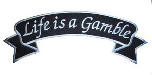 "oldschool Banner""Live is a gamble""rockabilly Patch emo"