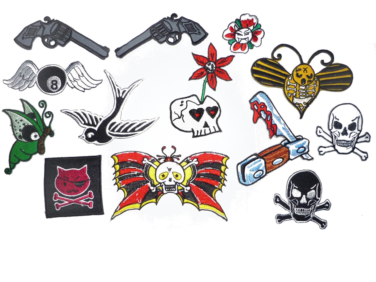 60 Stück Aufnäher: Skull Totenkopf punk rock Gothic RESTPOSTEN Großhandel
