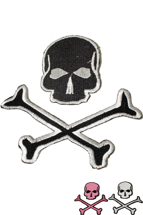 Skull crossed bones punk rock Totenkopf Rockabilly Patch Aufnäher Set