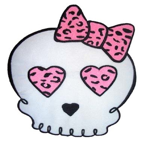 Skull Leopard Bow rockabilly punk batcave Patch