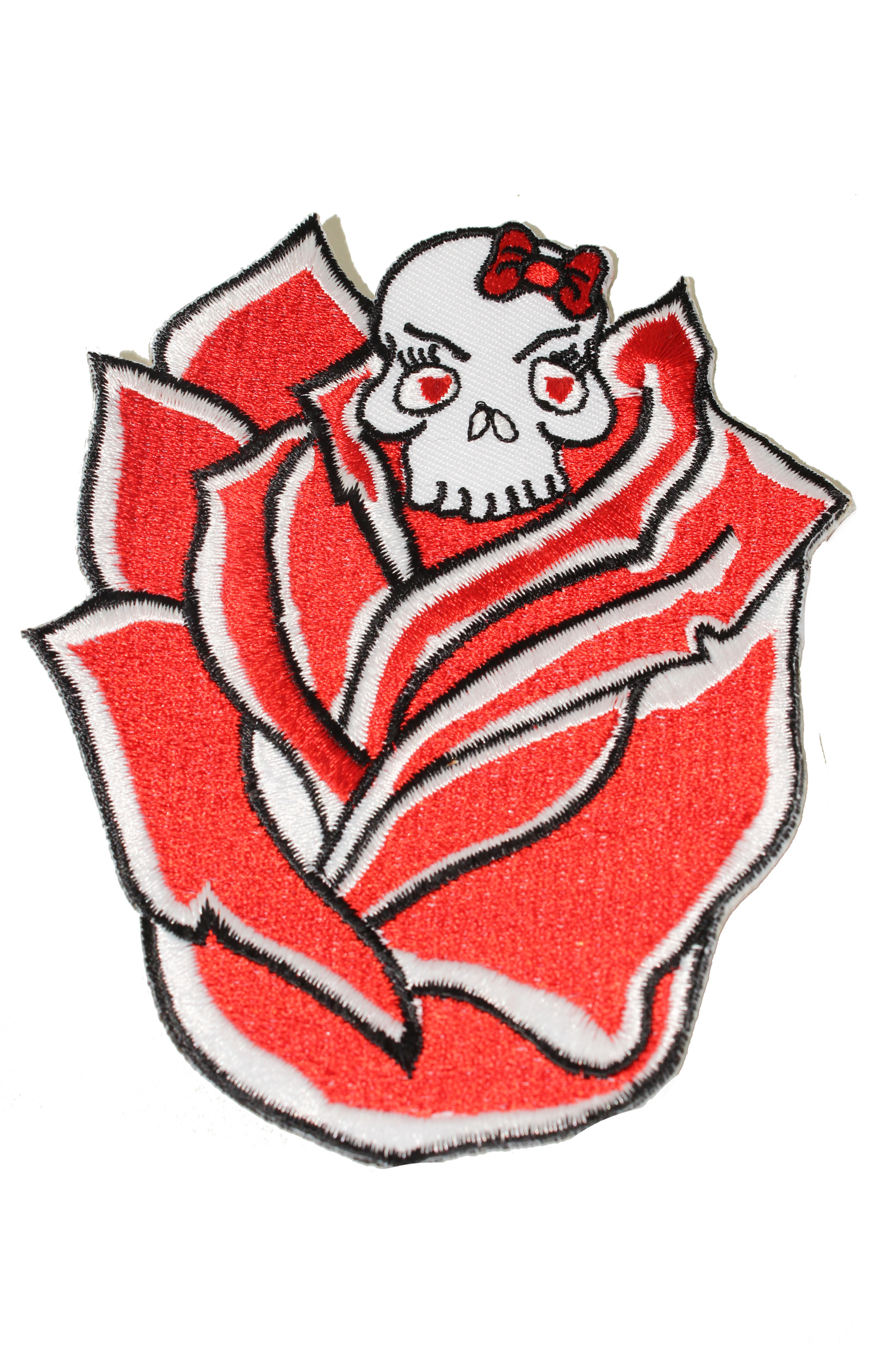 girlie Flower Skull punk rock Totenkopf Rose Rockabilly Patch Aufnäher