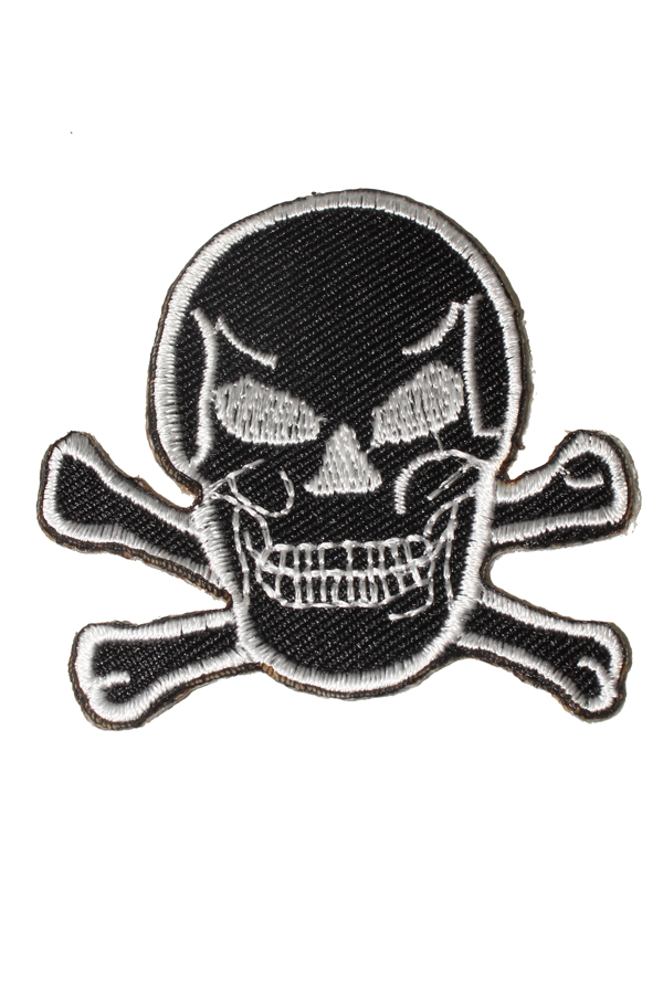 Skull punk rock Totenkopf Rockabilly Patch Aufnäher schwarz