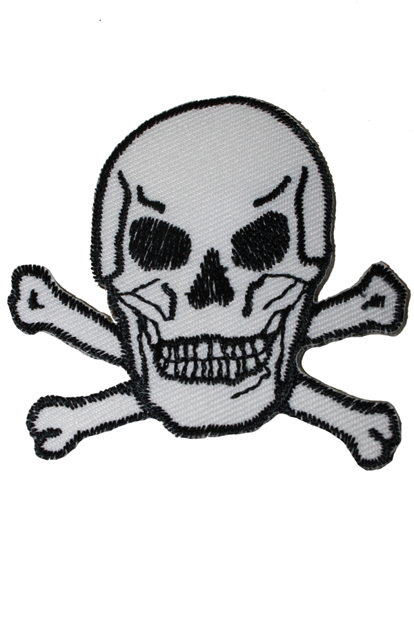 Biker Skull punk rock Totenkopf Rockabilly Patch Aufnäher weiß