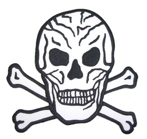 BIG Skull batcave punk rockabilly Totenkopf Patch weiß