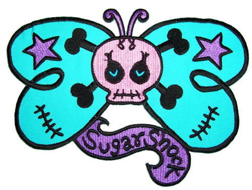 SugarShock girlie Butterfly Skull Totenkopf Rockabilly Patch Aufnäher
