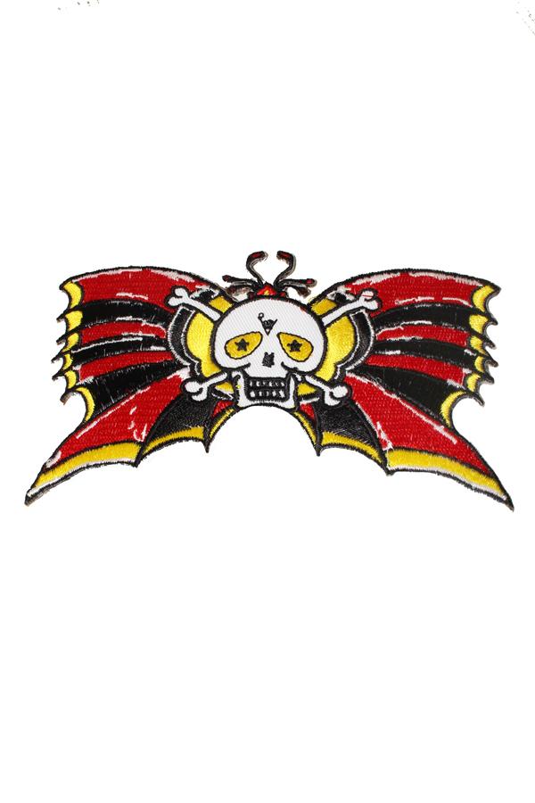 Mini girlie Bow Skull Totenkopf Knochen Rockabilly Patch Aufnäher