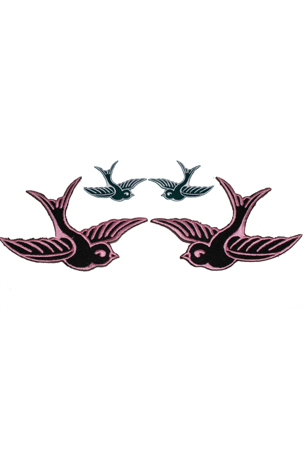 1 Paar 50s Swallow retro Schwalben rockabilly Patch Aufnäher