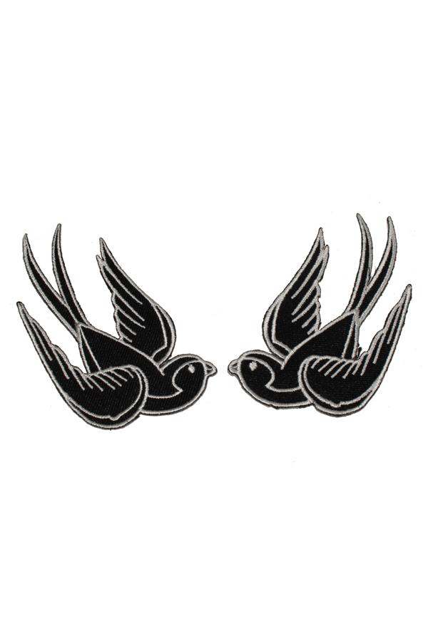 1 Paar 50s Swallow retro Schwalben rockabilly Patch Aufnäher sw-weiß