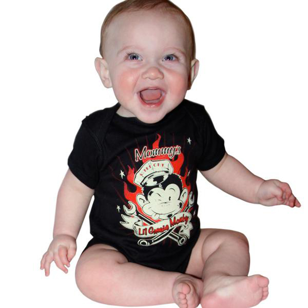 "Kids 50s rockabilly ""Lil Grease Monkey"" Baby Body Strampler schwarz"