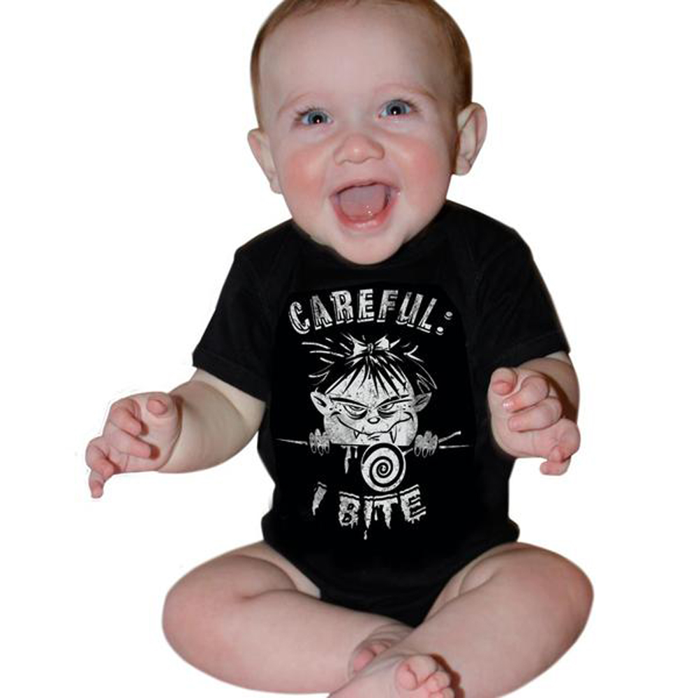 "rockabilly ""I Bite"" Zombie Baby Body Monster Strampler schwarz"