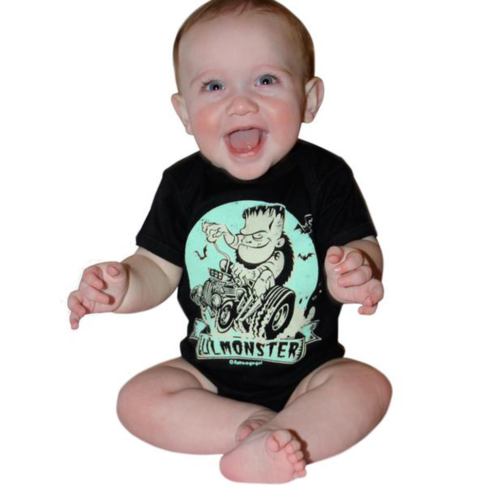 "rockabilly ""Lil Monster"" Zombie Baby Body Strampler schwarz"