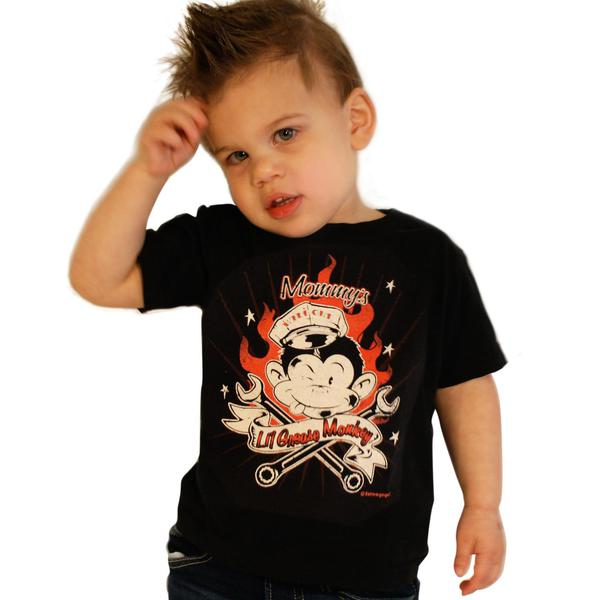"Kids 50er rockabilly ""Lil Grease Monkey"" Kinder Baby T-shirt schwarz"