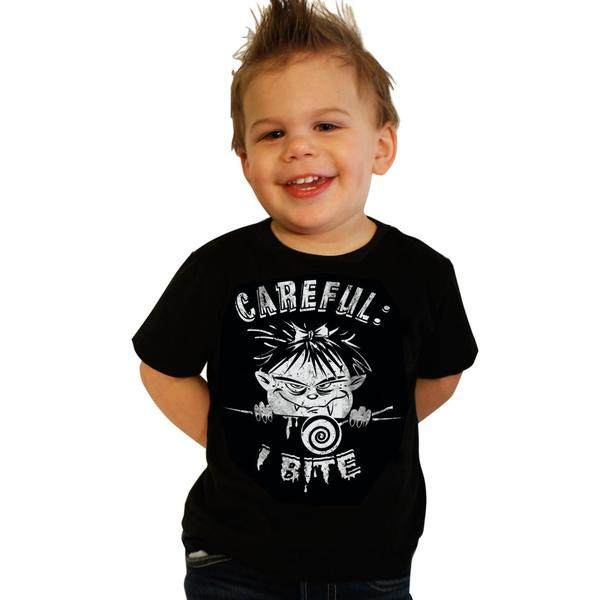 "rockabilly Kids ""I Bite"" Zombie Kinder Baby Monster T-shirt schwarz"