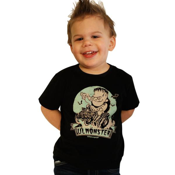 "rockabilly Kids ""Lil` Monster"" Zombie Kinder Baby punk T-shirt schwarz"