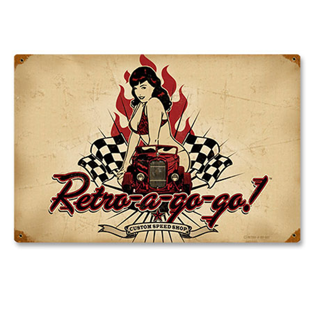 retro-a-gogo pin up hot Race Car BLECHSCHILD rockabilly Metallschild 44,5 cm