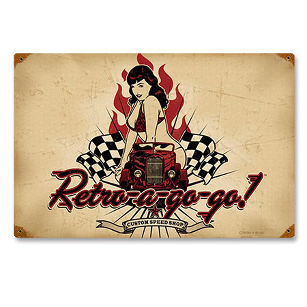 retro-a-gogo pin up hot Race Car BLECHSCHILD rockabilly Metallschild 44,5 cm