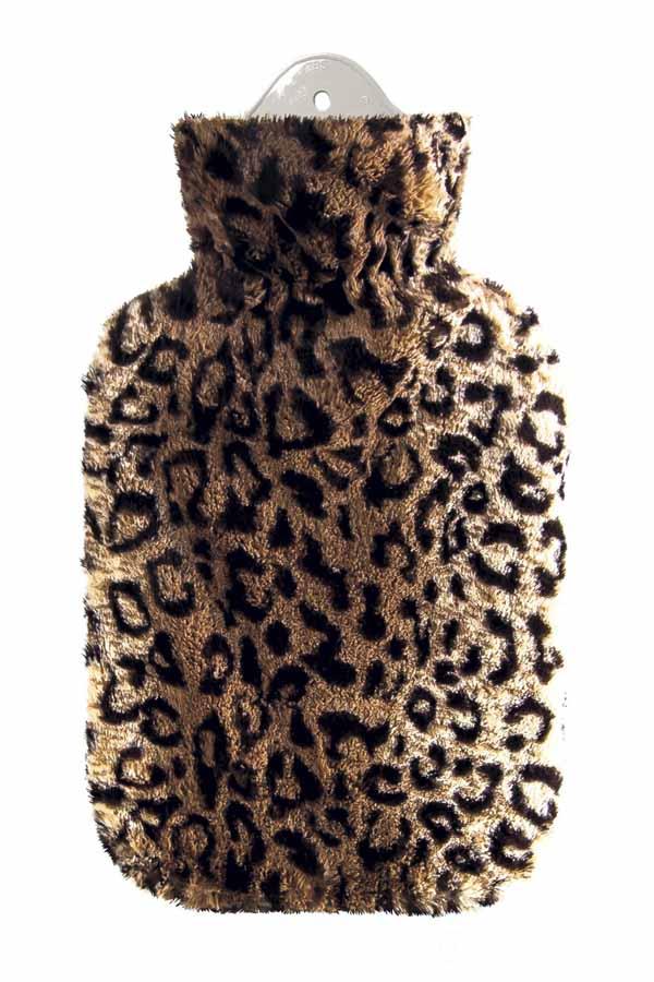 retro Wärmflasche Leoparden Plüsch Bettflasche Leo Wärmkissen 2 Liter