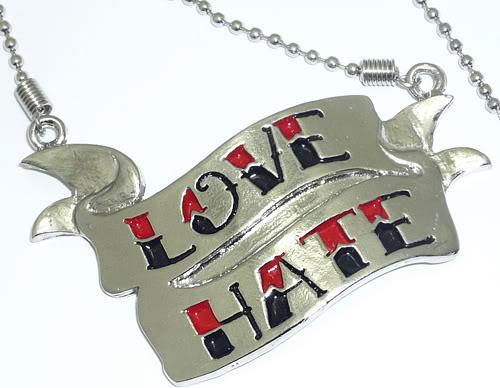 LOVE HATE Tattoo Banner rockabilly emo Halskette Kette