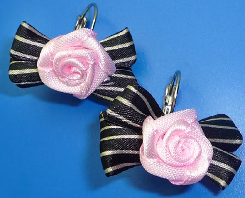 CUTE Schleife BOW Rose Stoff rockabilly pin up Ohrringe