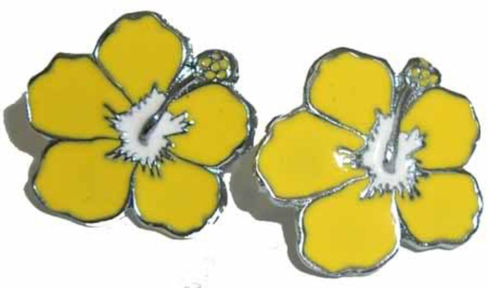Hibiskus Flower Rockabilly Hawaii Blüte Ohrstecker gelb
