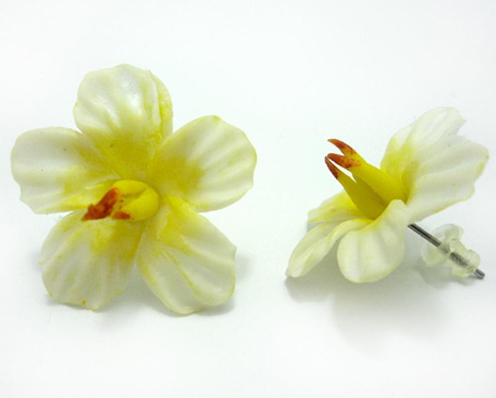 HAWAII Blüten rockabilly Flower Hibiskus Blumen Ohrringe Ohrstecker weiß
