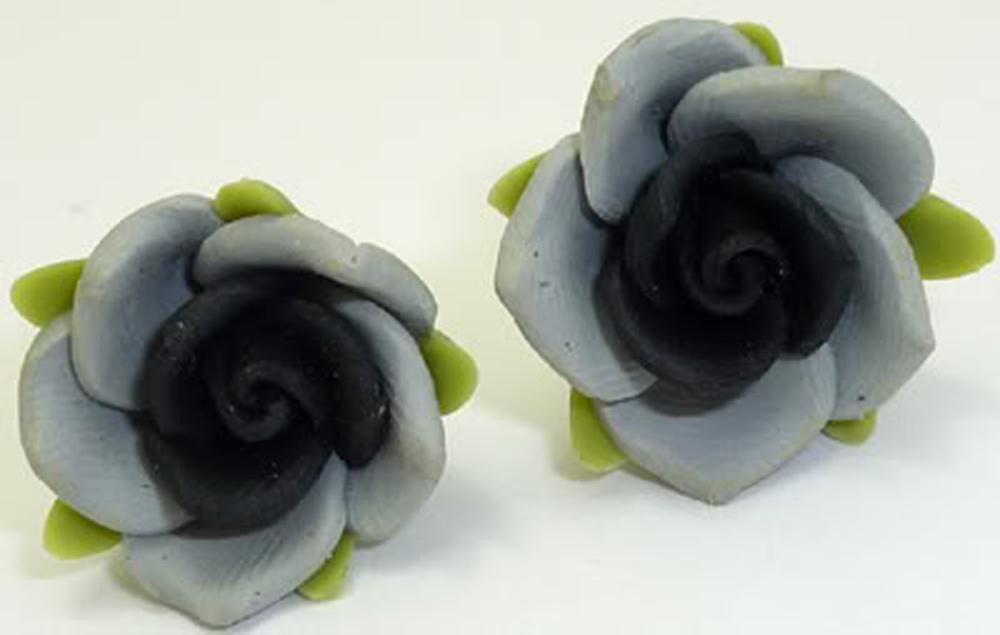 schwarze Rosen Blüten Flower batcave Blumen Ohrstecker