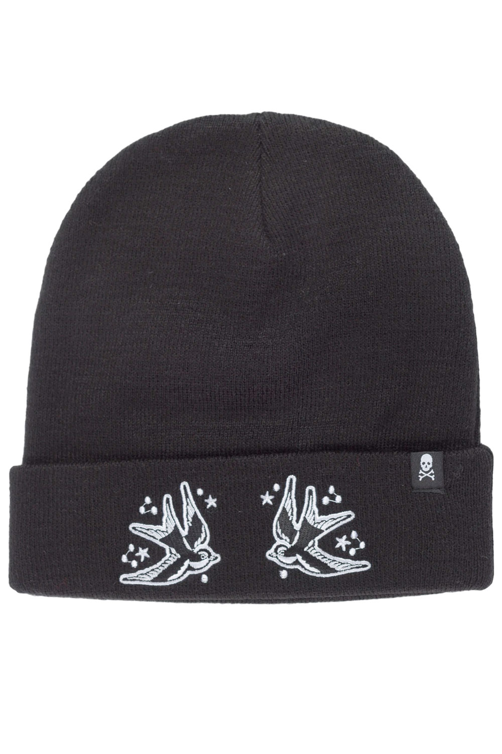 Sourpuss Schwalben Strickmütze Stickerei Rockabilly Tattoo Beanie Mütze