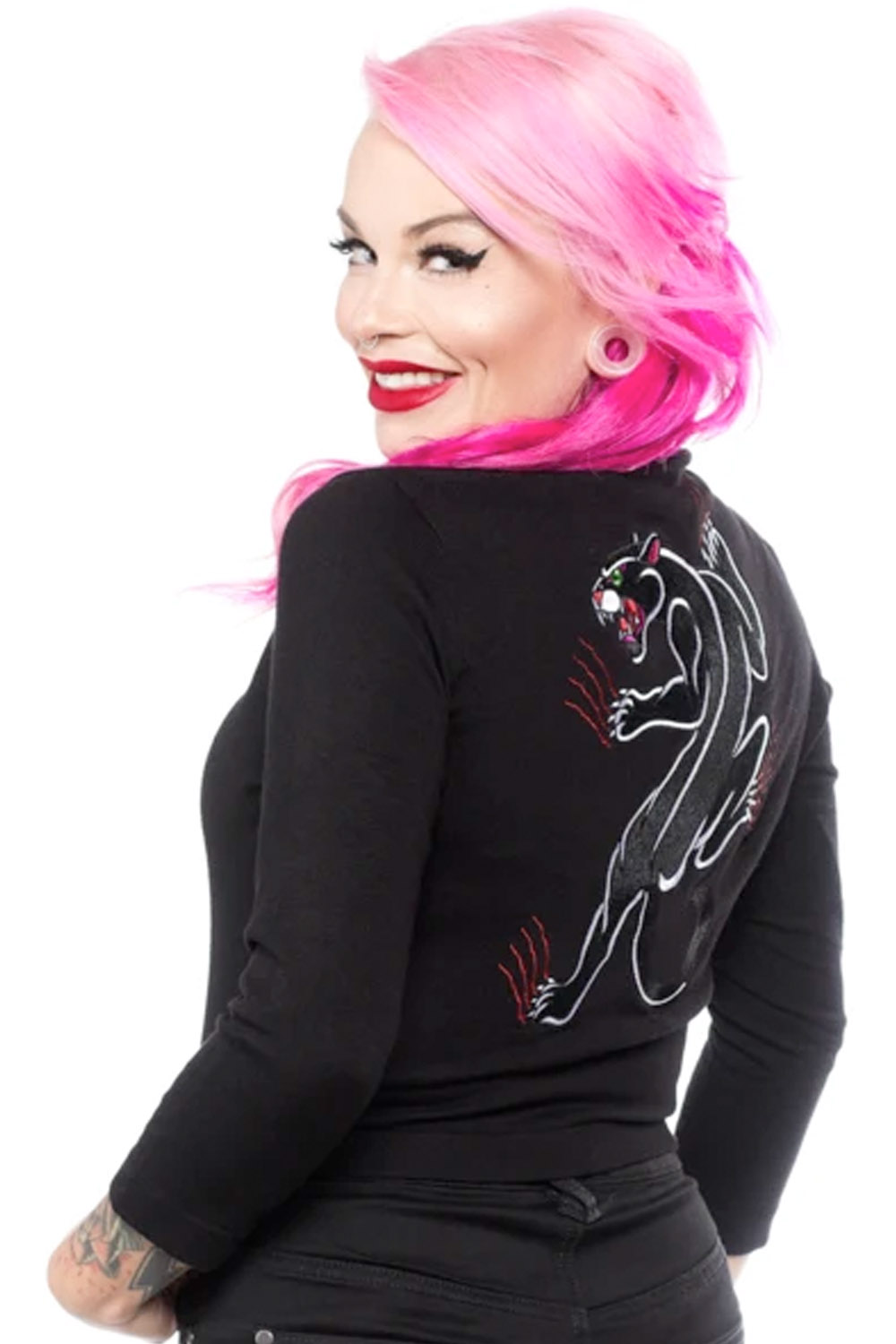 rockabilly Strickjacke oldschool Tattoo Panther Cardigan Weste schwarz